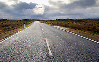 White lines on empty road , North Island, New Zealand