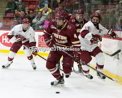 Michael Kim (BC - 4), Alexander Kerfoot (Harvard - 14) - The Harvard University Crimson defeated the visiting Boston College Eagles 5-2 on Friday, November 18, 2016, at the Bright-Landry Hockey Center in Boston, Massachusetts.
