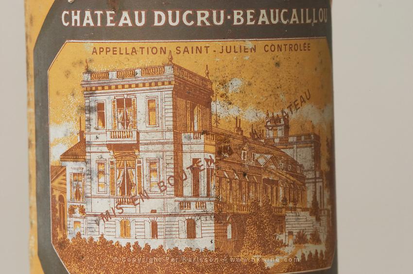 Chateau Ducru Beaucaillou 1986, Saint Julien, old dusty label. Medoc, Bordeaux, France