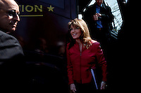 Boston, Massachussets, April 14, 2010 - Sarah Palin exiting a Tea Party Express bus before she her speech during a Tea Party Express rally in the Boston Common, the second to last stop on their 43-city tour across the country. The tour which began in Searchlight, NV, hometown of Senate Majority Leader Harry Reid, will conclude tomorrow in Washington, D.C.  for a tax day rally. Anti-incumbent sentiment is a common theme at the rallies.