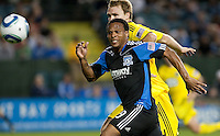 Scott Sealy (front) chases down the ball ahead of Chad Marshall. The San Jose Earthquakes tied the Columbus Crew 2-2 at Buck Shaw Stadium in Santa Clara, California on June 2nd, 2010.