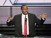 Dr. Ben Carson makes remarks at the 2016 Republican National Convention held at the Quicken Loans Arena in Cleveland, Ohio on Tuesday, July 19, 2016.<br /> Credit: Ron Sachs / CNP<br /> (RESTRICTION: NO New York or New Jersey Newspapers or newspapers within a 75 mile radius of New York City)