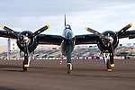 Grumman F7F Tigercat on the ramp during the Reno National Championship Air Races. There were 364 of the twin engined fighters built during World War II, and shortly thereafter, of which there are six that are still considered airworthy. Originally Grumman had been contracted to build 500 of the aircraft for use by the US Marine Corps to be used as close air support of the landing operations that were planned in the Pacific.