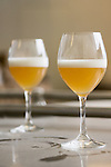 Two glasses contain the latest brew from the Raervig Brewery. The small brewery in Denmark is a new brewery on the competitive scene of micro brewers in Europe.