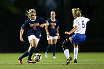 26 September 2013: Virginia's Morgan Brian (6) and Duke's Kaitlyn Kerr (5). The Duke University Blue Devils hosted the University of Virginia Cavaliers at Koskinen Stadium in Durham, NC in a 2013 NCAA Division I Women's Soccer match. Virginia won the game 3-2.