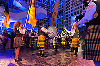 """Feb. 27, 2013 - Garden City, New York, U.S. - St. Anthony's HS """"Celtic Friars"""" Pipe Band, from South Huntington, performed during the 10th Annual Cradle of Aviation Museum Air & Space Gala, celebrating the 40th Anniversary of Apollo 17."""