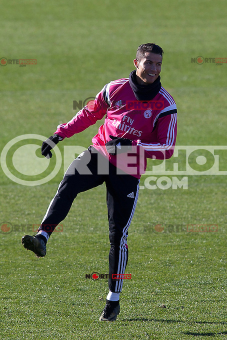Cristiano Ronaldo during a sesion training at Real Madrid City in Madrid. January 23, 2015. (ALTERPHOTOS/Caro Marin) /NortePhoto<br />