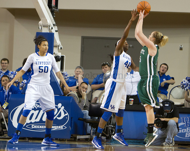 Senior F Brittany Henderson (40) challenges the shot during the UK Hoops vs USC Upstate Women's Basketball game in Lexington, Ky., on Sunday, November 25, 2012. Photo by Matt Burns | Staff