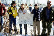 Georgia, Forsyth County, Cumming, 14th, January, 1987. 20,000 people on protest march against racism. The Ku Klux Klan also appeared to oppose demonstration.