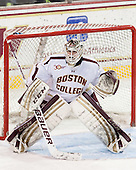 Brian Billett (BC - 1) relieved Demko. - The visiting University of Notre Dame Fighting Irish defeated the Boston College Eagles 7-2 on Friday, March 14, 2014, in the first game of their Hockey East quarterfinals matchup at Kelley Rink in Conte Forum in Chestnut Hill, Massachusetts.