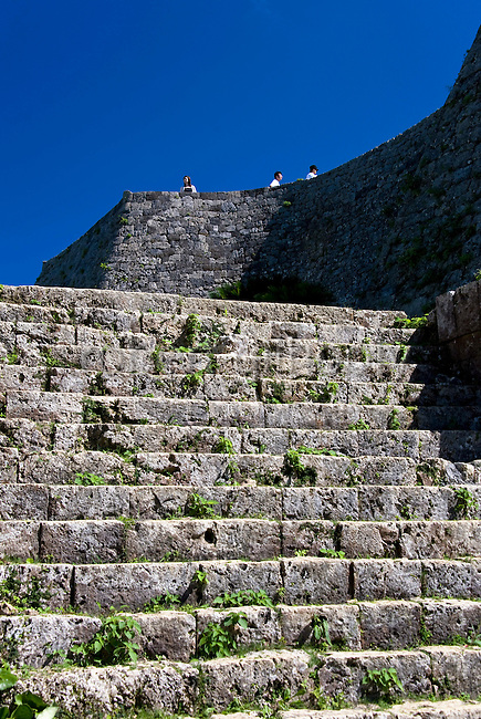 Photo shows the steps leading up to the 3rd enclosure of Nakagusuku Castle ruins in KITA-NAKAGUSUKU VILLAGE, Okinawa Prefecture, Japan, on May 20, 2012. Photographer: Robert Gilhooly