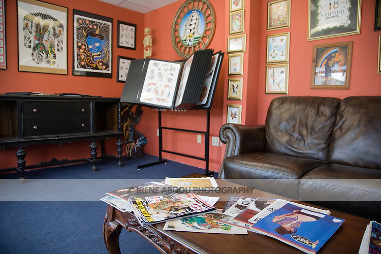 Waiting room at a tattoo parlor in rural Maine.