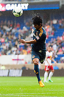 A.J. DeLaGarza (20) of the Los Angeles Galaxy. The New York Red Bulls defeated the Los Angeles Galaxy 1-0 during a Major League Soccer (MLS) match at Red Bull Arena in Harrison, NJ, on May 19, 2013.