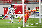 Hamilton Accies v St Johnstone...16.08.14  SPFL<br /> Michael McGovern brilliantly saves from Steven MacLean late on in the game<br /> Picture by Graeme Hart.<br /> Copyright Perthshire Picture Agency<br /> Tel: 01738 623350  Mobile: 07990 594431