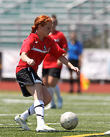 Aztec MA midfielder Hillary Savoy (6) controls the ball. In a Women's Premier Soccer League (WPSL) match, Aztec MA defeated CFC Passion, 4-0, at North Reading High School Stadium on July 1, 2012.