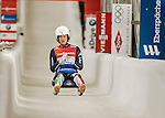 5 December 2015: Andrea Voetter, competing for Italy, crosses the finish line on her second run of the Viessmann World Cup Women's Luge, with a combined 2-run time of 1:29.319 and a 16th place result at the Olympic Sports Track in Lake Placid, New York, USA. Mandatory Credit: Ed Wolfstein Photo *** RAW (NEF) Image File Available ***