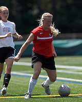 Aztec MA forward Greta Samuelsdottir (17) dribbles. In a Women's Premier Soccer League (WPSL) match, Aztec MA defeated CFC Passion, 4-0, at North Reading High School Stadium on July 1, 2012.
