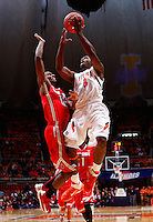 CHAMPAIGN, IL - JANUARY 05: Brandon Paul #3 of the Illinois Fighting Illini shoots the ball against Sam Thompson #12 of the Ohio State Buckeyes at Assembly Hall on January 5, 2013 in Champaign, Illinois. (Photo by Michael Hickey/Getty Images) *** Local Caption *** Brandon Paul; Sam Thompson