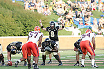 2 September 2006: Wake Forest quarterback Benjamin Mauk (8) calls an audible during the first half.  Mauk suffered an arm injury during the second half; he was carted off and did not return. Wake Forest defeated Syracuse 20-10 at Groves Stadium in Winston-Salem, North Carolina in an NCAA college football game.