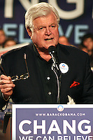 Late senator Ted Kennedy, supporting then-candidate Obama at a rally in Boston, MA.