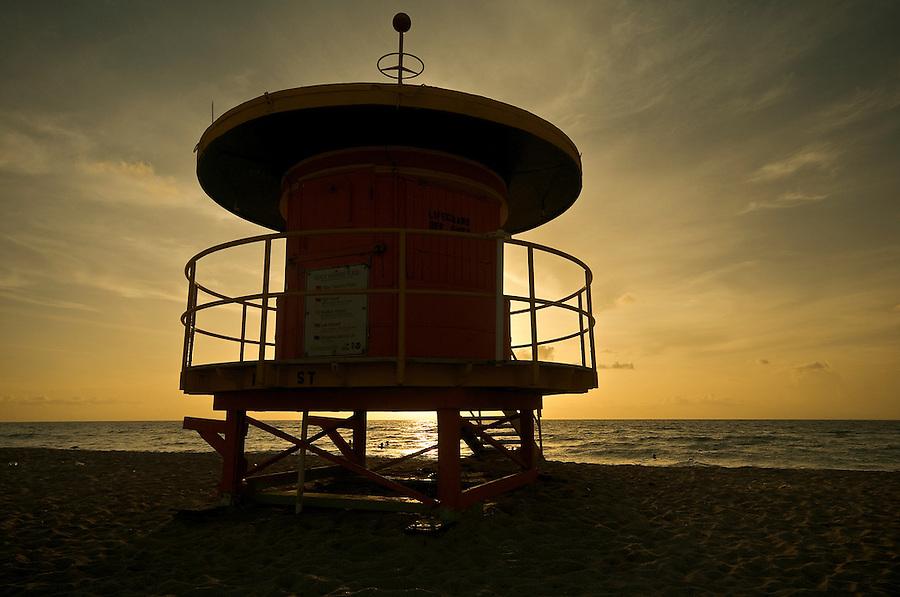 Lifeguard shelter at sunrise in Miami Beach, Florida, USA.