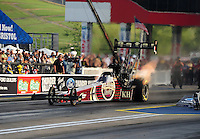 Jun. 17, 2011; Bristol, TN, USA: NHRA top fuel driver Del Worsham during qualifying for the Thunder Valley Nationals at Bristol Dragway. Mandatory Credit: Mark J. Rebilas-