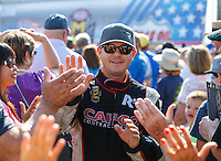 Sep 5, 2016; Clermont, IN, USA; NHRA top fuel driver Steve Torrence during the US Nationals at Lucas Oil Raceway. Mandatory Credit: Mark J. Rebilas-USA TODAY Sports