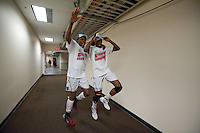 FRESNO, CA--Sisters Chiney Ogwumike and Nneka Ogwumike celebrate together a 81-69 win over Duke at the Save Mart Center for the West Regionals Championship of the 2012 NCAA Championships. The Cardinal advances to the Final Four in Denver, facing Baylor in the semifinals.