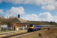 First Great Western Train pulls into Charlbury Station, The Cotswolds, United Kingdom
