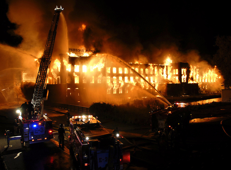 Fire tears through the former Parsons Paper Mill on Sargeant Street in Holyoke's canal section on Monday, June 9, 2008
