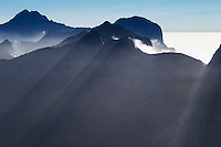 VIew across rugged mountain peaks from the summit of Branntuva (702m), Moskenesøy, Lofoten Islands, Norway