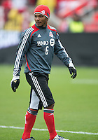 21 April 2012: Toronto FC midfielder Julian de Guzman #6 in action during the warm-up in a game between the Chicago Fire and Toronto FC at BMO Field in Toronto..The Chicago Fire won 3-2....