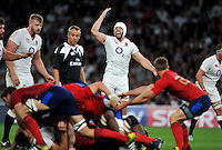 Dave Attwood of England calls for numbers in defence. QBE International match between England and France on August 15, 2015 at Twickenham Stadium in London, England. Photo by: Patrick Khachfe / Onside Images