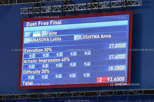 Scoreboard,  JULY 30, 2015 - Synchronised Swimming : 16th FINA World Championships Kazan 2015 Duets Free Routine Final at Kazan Arena in Kazan, Russia. (Photo by Yohei Osada/AFLO SPORT)