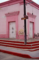 Street corner in the Spanish colonial town of Todos Santos , Baja California Sur, Mexico