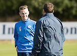 St Johnstone Training&hellip;.30.09.16<br />Streven MacLean pictured during training this morning talking with manager Tommy Wright<br />Picture by Graeme Hart.<br />Copyright Perthshire Picture Agency<br />Tel: 01738 623350  Mobile: 07990 594431