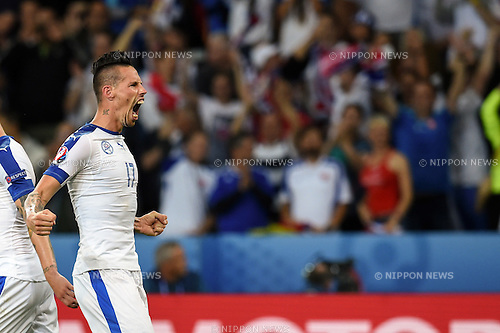 Marek Hamsik (Slovakia) ; <br /> June 15, 2016 - Football : Uefa Euro France 2016, Group B, Russia 1-2 Slovakia at Stade Pierre Mauroy, Lille Metropole, France.; Joy Goal 0-2 ;(Photo by aicfoto/AFLO)