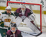 18 December 2016: Union College Dutchman Goaltender Alex Sakellaropoulos, a Senior from Tinley Park, IL, in third period action against the University of Vermont Catamounts at Gutterson Fieldhouse in Burlington, Vermont. The Dutchmen defeated their former ECAC hockey rivals 2-1, sweeping their two-game weekend series. Mandatory Credit: Ed Wolfstein Photo *** RAW (NEF) Image File Available ***