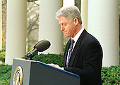United States President Bill Clinton makes a statement in the Rose Garden of the White House in Washington, D.C. following his acquittal by the U.S. Senate on 12 February 12, 1999..Credit: Arnie Sachs / CNP