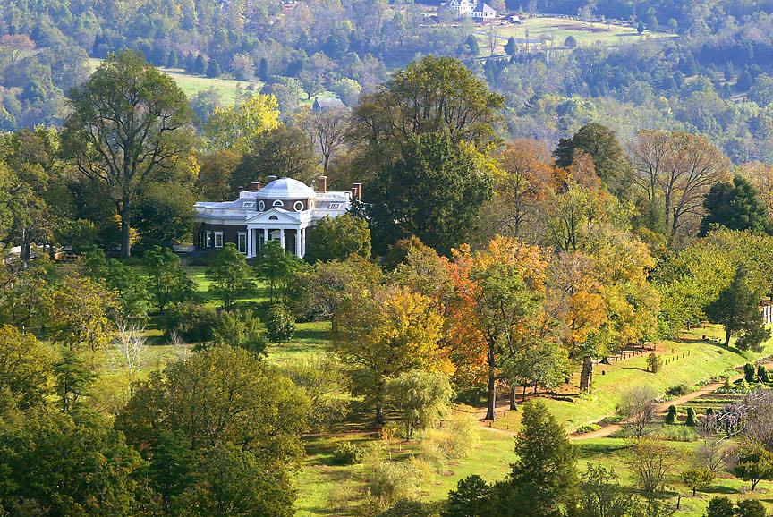 Monticello thomas jefferson aerial