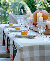 Each place setting on this outdoor table is decorated with a gourd, while a pumpkin takes centre stage to emphasise the autumn theme