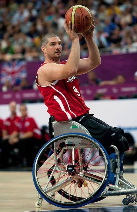 LONDON, ENGLAND 09/06/12: Adam Lancia competes in the Men's Wheelchair Basketball semi-final CAN vs. GBR at the London 2012 Paralympic Games at the North Greenwich Arena (Photo by: Wheelchair Basketball Canada/Canadian Paralympic Committee)