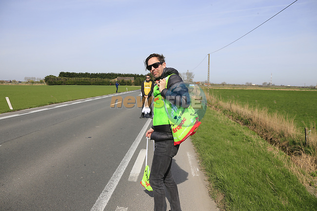 Cannondale-Drapac team member Pat from Galway waits for his riders to pass through the first feed zone at Steenkerke during Gent-Wevelgem in Flanders Fields 2017 running 249km from Denieze to Wevelgem, Flanders, Belgium. 26th March 2017.<br /> Picture: Eoin Clarke | Cyclefile<br /> <br /> <br /> All photos usage must carry mandatory copyright credit (&copy; Cyclefile | Eoin Clarke)