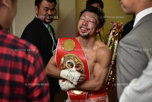 Akira Yaegashi (JPN),<br /> DECEMBER 29, 2015 - Boxing :<br /> Akira Yaegashi of Japan celebrates with his champion belt after winning the IBF light flyweight title bout at Ariake Colosseum in Tokyo, Japan. (Photo by Hiroaki Yamaguchi/AFLO)