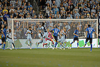 KANSAS CITY, KS - June 1, 2013:<br /> Sanna Nyassi (11) midfield Montreal Impact scores the equalizing goal.<br /> Montreal Impact defeated Sporting Kansas City 2-1 at Sporting Park.