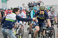 Jens Keukeleire (BEL/Orica-Scott) catching a roadside bidon from the support crew<br /> <br /> 108th Milano - Sanremo 2017