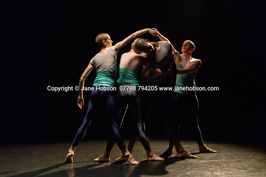 """London, UK. 08.03.2017. Julie Cunningham & Company present """"Returning"""" and """"To Be Me"""", in a double bill, in The Pit, at the Barbican Centre. The piece shown is """"Returning"""". The dancers are: Julie Cunningham, Harry Alexander, Hannah Burfield, Alexander Williams. Photograph © Jane Hobson."""