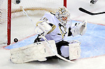 6 February 2010: Pittsburgh Penguins' goaltender Marc-Andre Fleury has a shot hit the goalpost in the third period, saving a goal against the Montreal Canadiens at the Bell Centre in Montreal, Quebec, Canada. The Canadiens defeated the Penguins 5-3. Mandatory Credit: Ed Wolfstein Photo