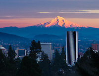 Snow capped Mt Hood is seen at sunset with alpine glow with city of Portland, Oregon in the foreground.