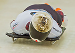 9 January 2016: Barrett Martineau, competing for Canada, slides into the track for his first start of the BMW IBSF World Cup Skeleton race at the Olympic Sports Track in Lake Placid, New York, USA. Martineau ended the day with a combined 2-run time of 1:50.90 and a 12th place overall finish. Mandatory Credit: Ed Wolfstein Photo *** RAW (NEF) Image File Available ***
